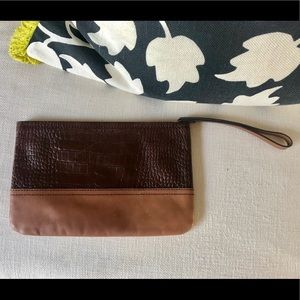 Banana Republic brown color blocked leather clutch